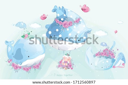 A cute little whale in colorful watercolor style Set.