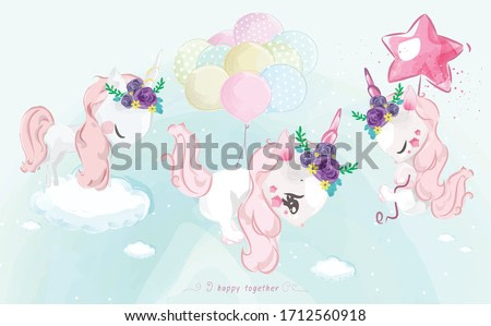 A cute little Unicorn in colorful watercolor style Set.