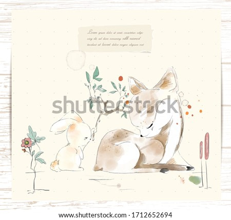 Hand painted watercolor tropical cute animal rabbit and deer on a branch with tropical flowers and leaves