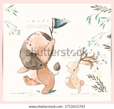 Hand painted watercolor tropical cute animal rabbit and lion n a branch with tropical flowers and leaves