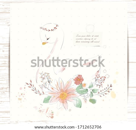Hand painted watercolor tropical cute animal swan on a branch with tropical flowers and leaves
