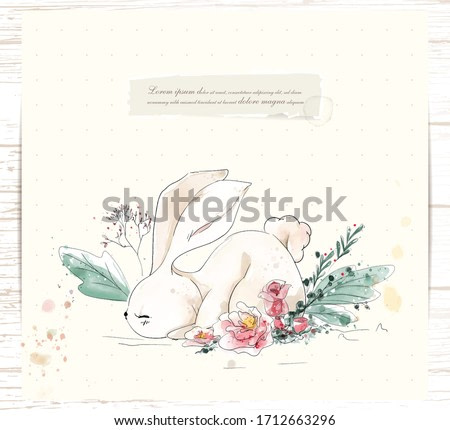 Hand painted watercolor tropical cute animal rabbit on a branch with tropical flowers and leaves