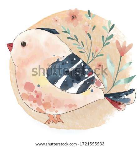 Hand painted watercolor cute bird unicorn on a branch with tropical flowers and leaves