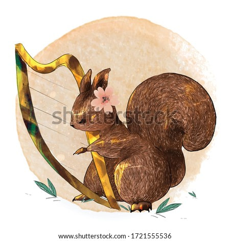 Hand painted watercolor cute animal squirrel play music on a branch with tropical flowers and leaves