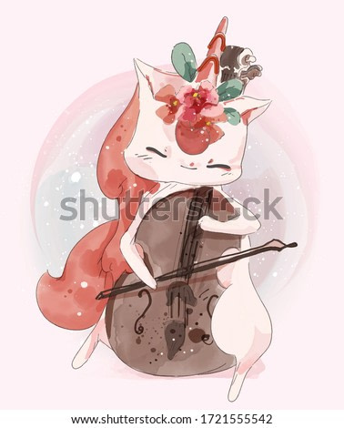 Hand painted watercolor cute animal unicorn play music on a branch with tropical flowers and leaves