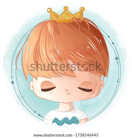 Watercolor style hand painting A bright boy with a crown prince