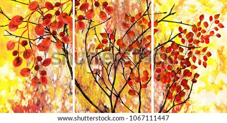 Designer oil painting. Decoration for the interior. Modern abstract art on canvas. Set of pictures with different textures and colors. Tree with red leaves.
