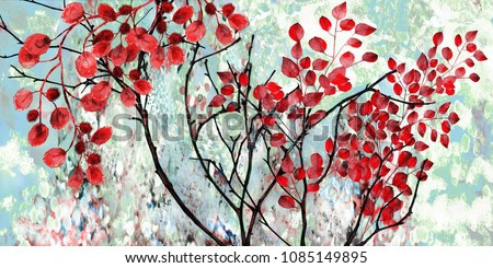 Collection of designer oil paintings. Decoration for the interior. Modern abstract art on canvas.  Tree with red leaves on blue background.