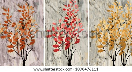 Collection of designer oil paintings. Decoration for the interior. Modern abstract art on canvas. Autumn.