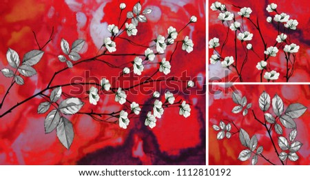 Collection of designer oil paintings. Decoration for the interior. Modern abstract art on canvas. White flowers on a red abstract background.