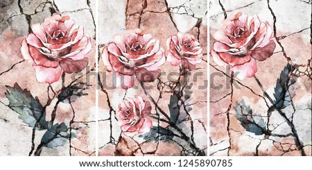 Collection of designer oil paintings. Decoration for the interior. Modern abstract art on canvas. Set of pictures with different textures and colors. Pink rose.