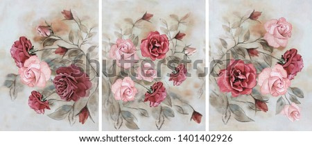 Collection of designer oil paintings. Decoration for the interior. Modern abstract art on canvas. A set of paintings with red roses.