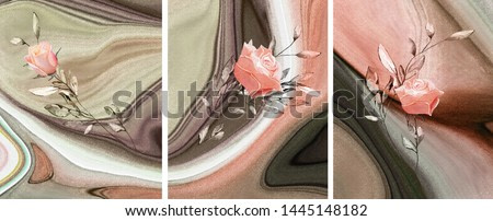 Collection of designer oil paintings. Decoration for the interior. Modern abstract art on canvas. Set of paintings with pink roses.