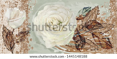 Collection of designer oil paintings. Decoration for the interior. Modern abstract art on canvas. Set of paintings with roses.
