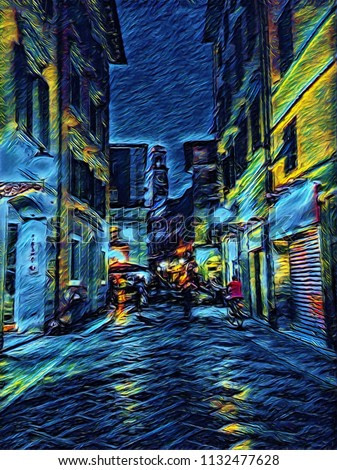 Old vintage night italian street. Traditional architecture of Italy. Big size oil painting fine art in Vincent Van Gogh style. Modern impressionism drawn. Creative artistic print for poster, postcard.
