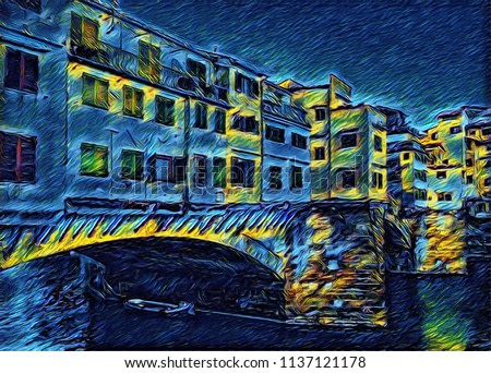Beauty view at old houses and river in Florence, Italy. Big size oil painting fine art. Vincent Van Gogh style impressionism drawing artwork. Creative artistic print for canvas or poster.