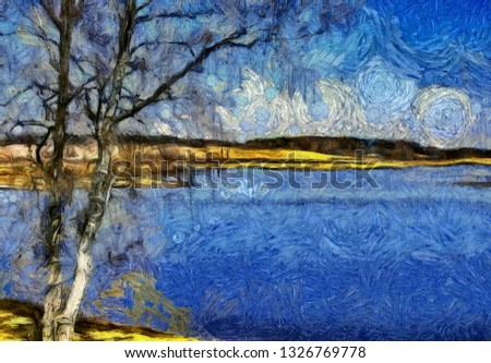 Incredible beauty of nature landscape. Spring season. Impressionism oil painting  style. Creative artistic print for canvas or textile. Wallpaper, poster or postcard design.