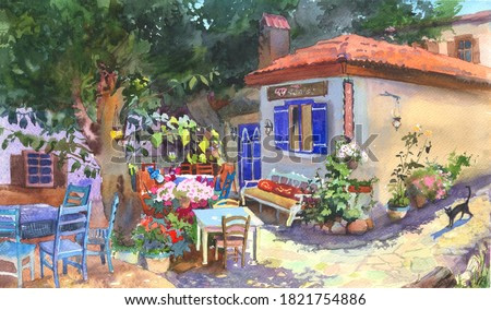 Traditional watercolor illustration of a scene in village, cafe open air. Mediterranean building, landscape in old town. For postcards, greetings, book illustrations.