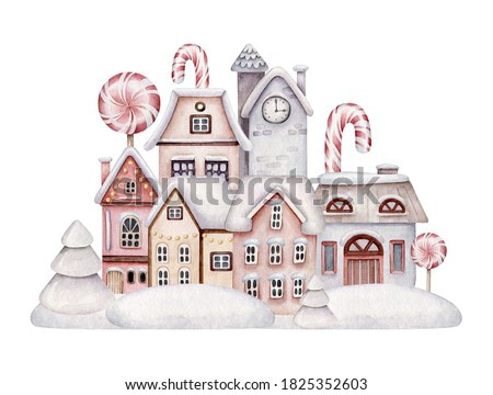 Watercolor winter village.Christmas decorated houses.Composition with house,snow,candy.Illustration for Christmas postcards,posters,greeting cards.Cartoon decorative houses.