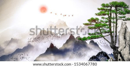 A landscape painting of pine trees, distant mountains, clouds and sunrise. Tthe Chinese painting style of ink and landscape.