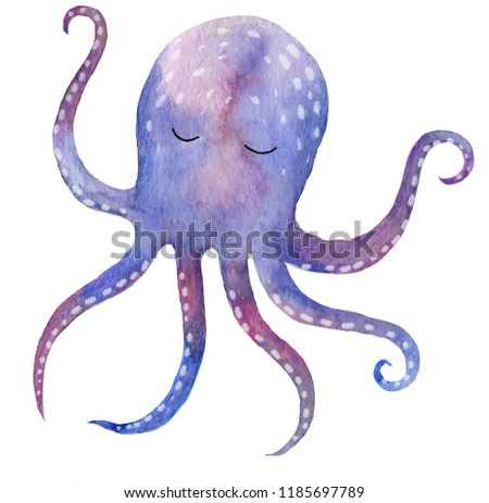 Cute watercolor ocean octopus on the isolated white background.