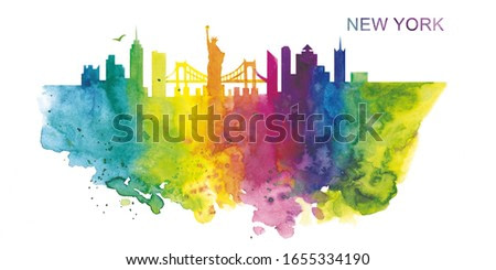 Watercolor illustration. Rainbow silhouette of the city of New York. Panorama of the city. The Statue of Liberty.