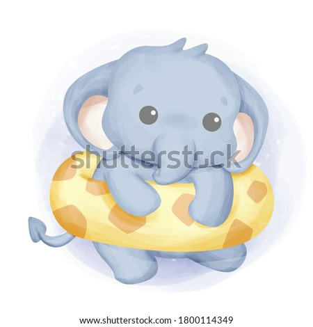 baby elephant swimming with float