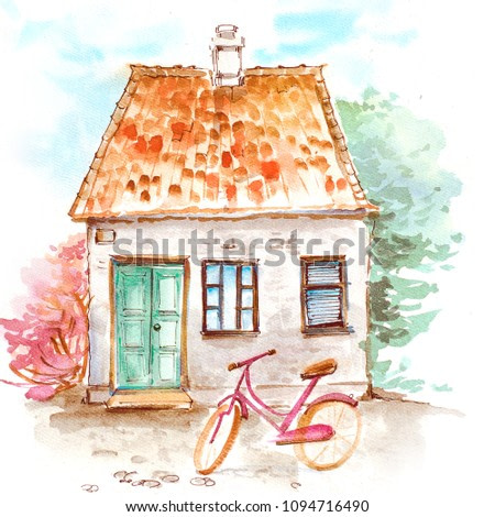 landscape with an old house surrounded by spring trees and with a pink bike in the yard watercolor illustration