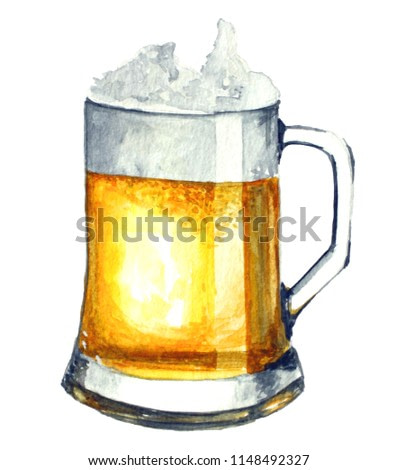 Watercolor illustration. Beer isolated on a white background.