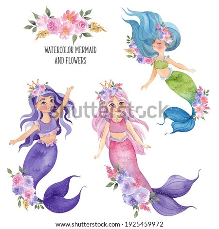 Watercolor cute mermaid with flowers composition, isolated on white background