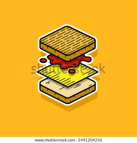 Layers of a Grilled Cheese. Tomato ketchup and cheese. Vector Illustration Grilled Cheese.