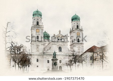 Cathedral in Passau, Bavaria, Germany. Baroque church with Bavarian onion domes. Landmark in the city of Passau. Watercolor Illustration.