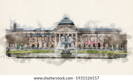 The Kurhaus, spa house with fountain in Wiesbaden, the capital of Hesse, Germany. Watercolor Illustration.