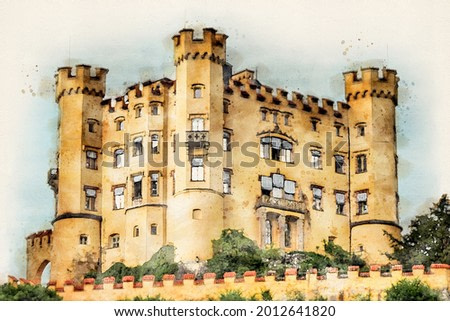 Hohenschwangau Castle in Bavaria, Germany. Romantic Upper Schwangau Palace is a very popular tourist destination in southern Germany next to Neuschwanstein Castle. Aquarelle, watercolor illustration.