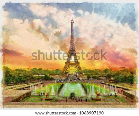 watercolor painting of Eiffel tower in Paris / France , skyline background , sunset