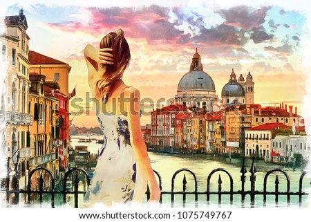 painting of standing girl in Venice grand canal Italy, illustration , watercolor, oil on canvas , wallpaper , buildings, river, woman, sunset , art, artwork