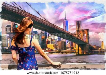 painting of beautiful girl standing looking into Brooklyn Bridge in new york city in usa , oil painting on canvas , watercolor, wallpaper background, sunset , hand draw, art, poster, illustration