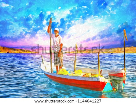 realistic painting of the old man on the sea, oil painting, fisher, sunset, boat