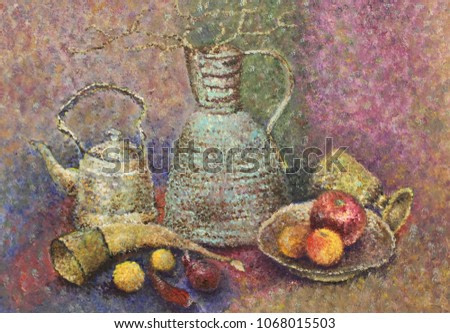 Picture. Butter. Pointillism. As an artist saw a simple still life. Its own interpretation. Stylish, vintage, antique. Old items. Aged. Coloring. Complex colors. Painting in the interior