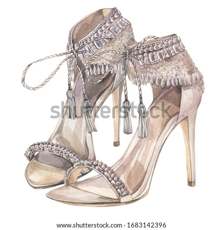 Fancy wedding shoes in boho style. Hand drawn watercolor illustration.
