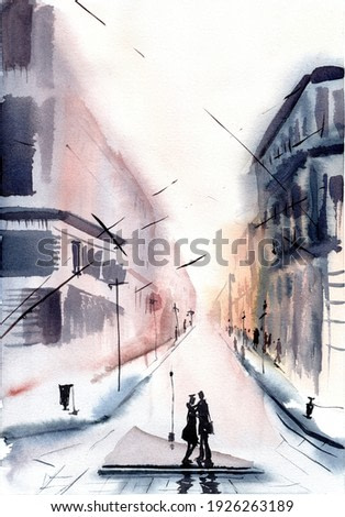 Watercolor illustration of a kissing couple in the middle of the big city's street