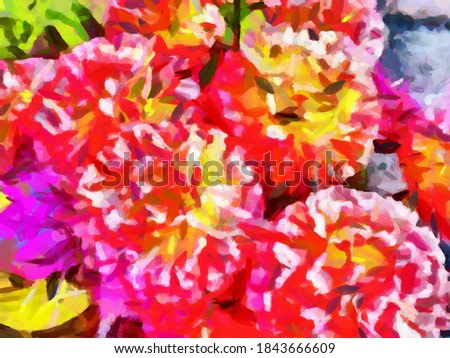 abstract pink flowers painting art