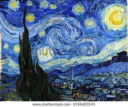 The Starry Night - Vincent van Gogh painting in Low Poly style. Conceptual Polygonal Illustration