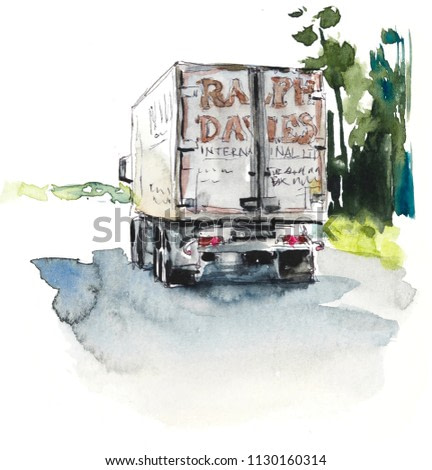 The truck goes on the road. Watercolor hand drawn illustration. Sketch