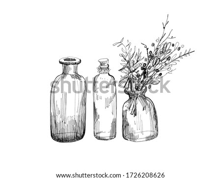 Black and white graphic drawing. Still life with small bottles
