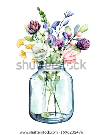 Flowers watercolor painting, glass jar with wildflowers and leaf, floral clip art for greeting card, invitation, poster, wedding decoration and other printing images. Illustration isolated on white.