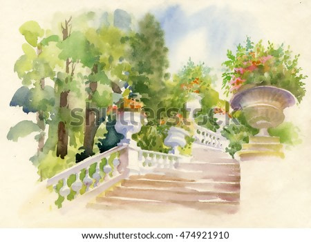 Watercolor paint. Stairs in overgrown forest garden and flowers, tourist footpath. Fresh green branches above footpath