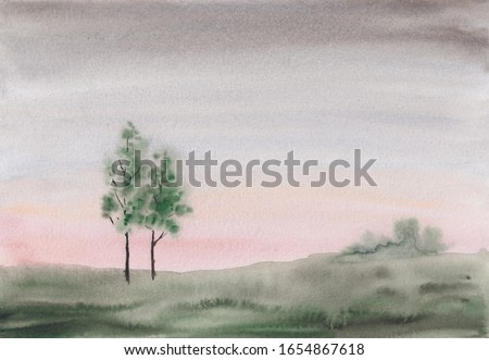 Watercolor sketch painting with abstract early spring or summer countryside landscape. Calm peaceful illustration with two young trees & green meadow. Tranquil rural scenery in light colors.