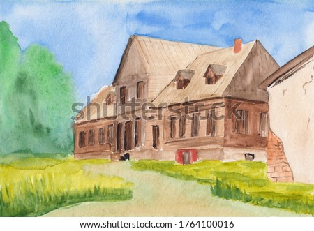 Watercolor painting with Eastern European landscape. Old wooden house in peaceful countryside on a sunny day. Historical place in Belarus. Country manor house of wealthy family.