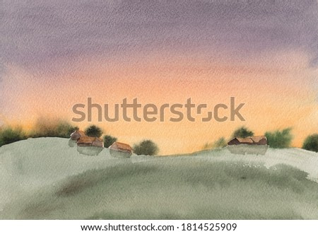 Watercolor sketch painting with abstract calm countryside landscape. Serene peaceful illustration with meadow, wooden village houses and green trees. Tranquil rural scenery in light sunrise colors.